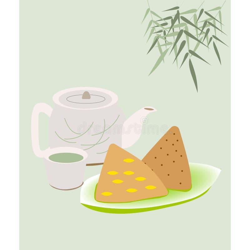 Ryżowe kluchy na zieleń półkowym i ślicznym herbacianym garnku royalty ilustracja