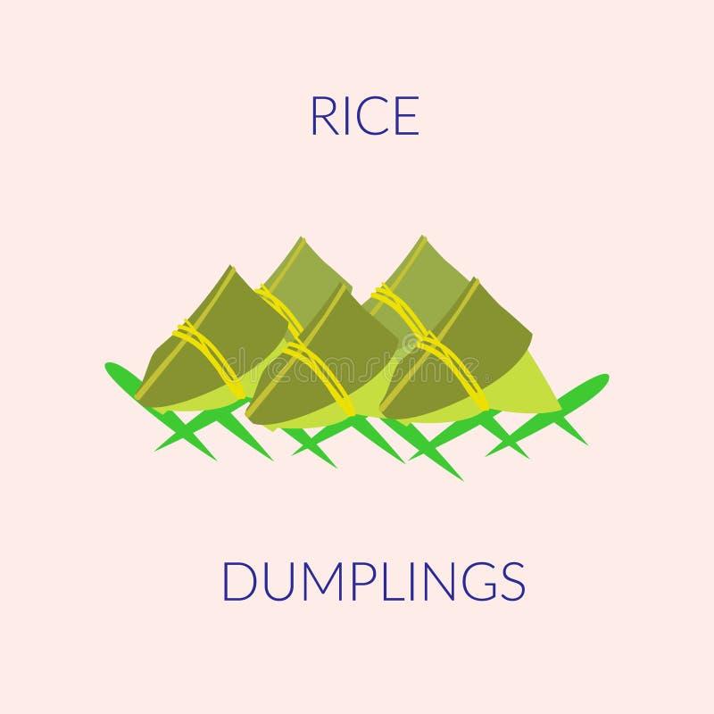 Ryżowe kluchy na zielonych liściach odizolowywających na zielonym tle ilustracji