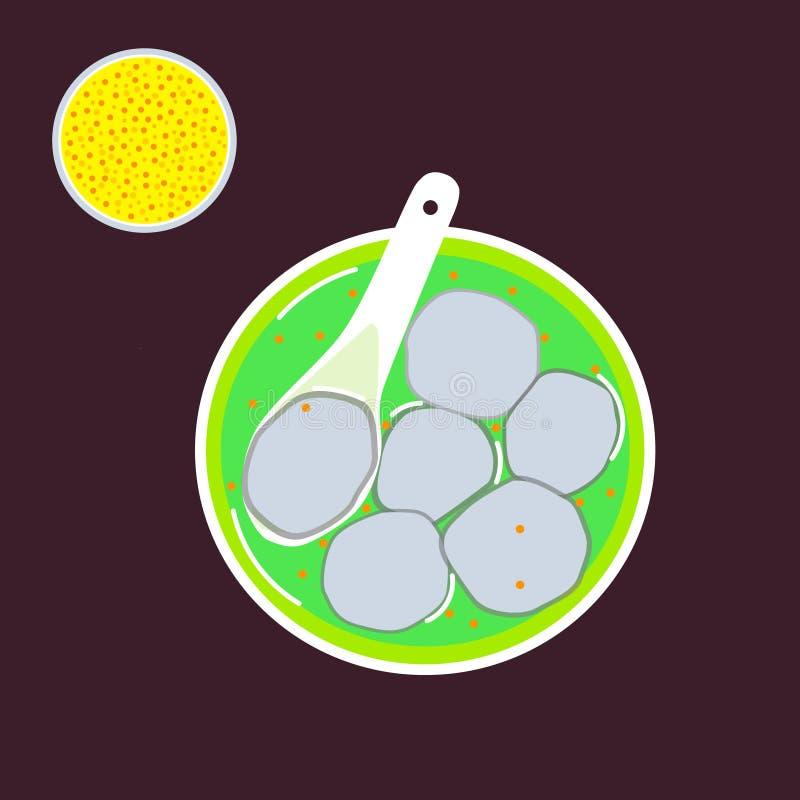 Ryżowe kluchy w zupnym zapasie na zieleń talerzu ilustracji