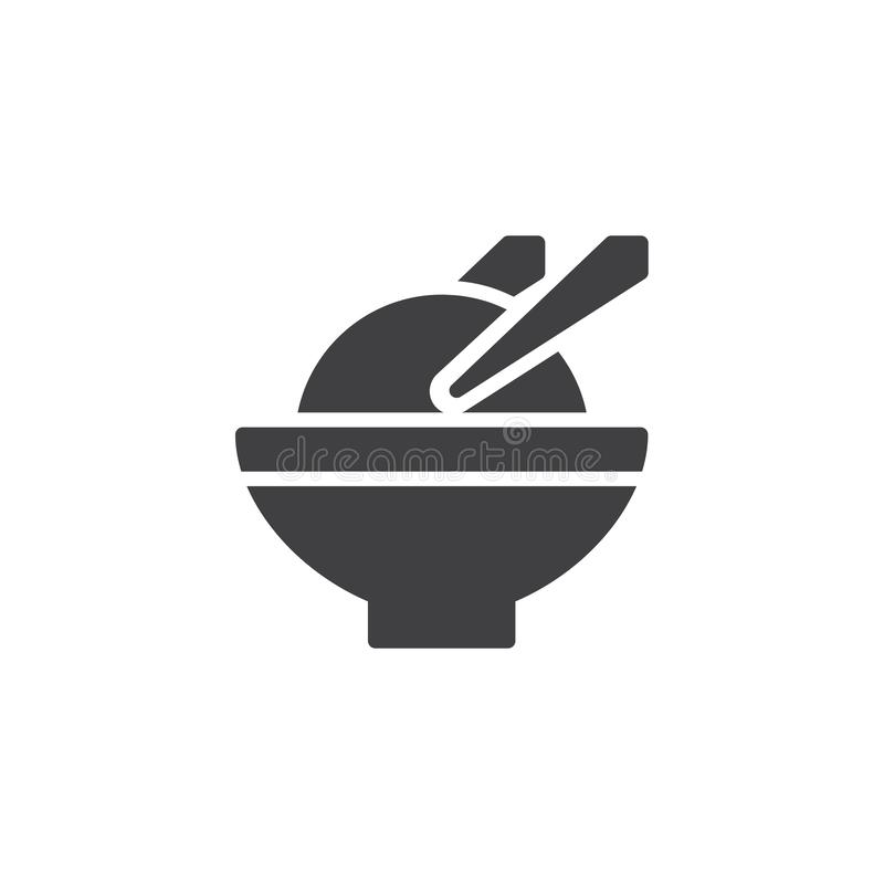 Ryżowego pucharu i chopsticks wektoru ikona ilustracja wektor