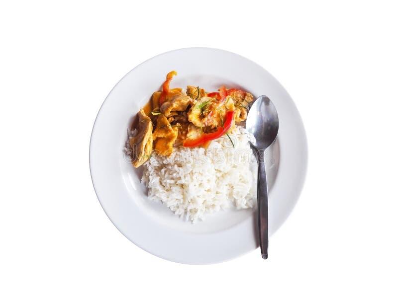 Ryżowej i wysuszonej czerwonej wieprzowiny kokosowy curry na białym naczyniu odizolowywającym na białym tle zdjęcie royalty free