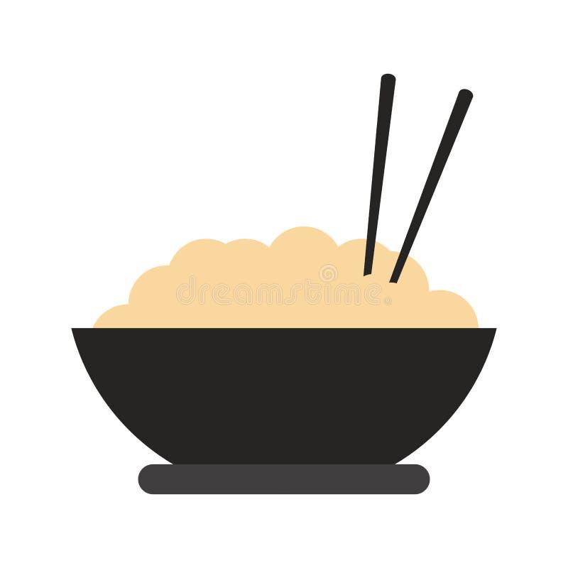 ryżowi pucharów chopsticks ilustracja wektor