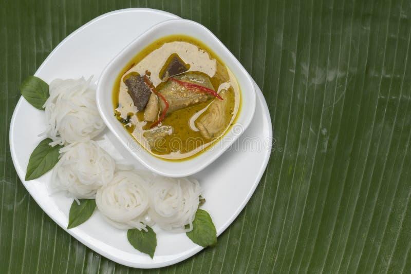 Ryżowi wermiszel z Zielonym curry'ego kurczakiem w bielu matrycują i rzucają kulą obrazy stock