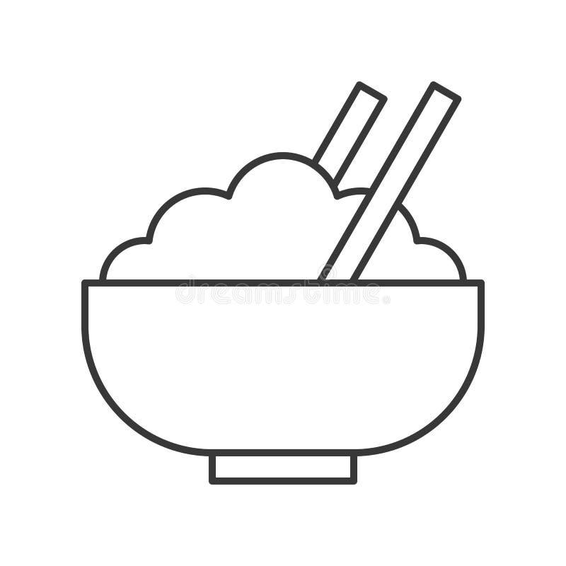 Ryżowy puchar z chopsticks, karmowa kontur ikona ilustracji