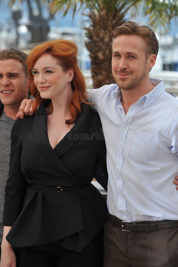 Ryan Gosling & Christina Hendricks royaltyfria bilder
