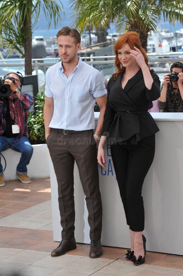 Ryan Gosling & Christina Hendricks royaltyfria foton