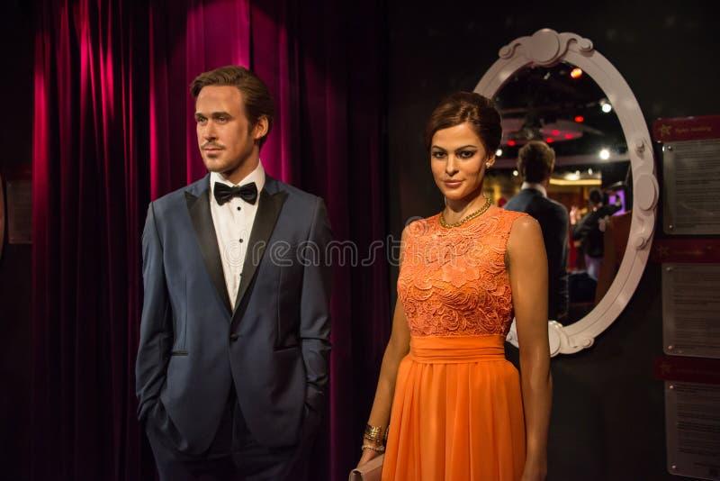 Ryan Gosling och Eva Mendes i museet av madamen Tussauds arkivfoton