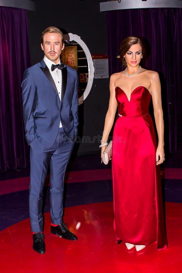 Ryan Gosling och Eva Mendes, vaxdiagram, Amsterdam för madam Tussauds arkivfoton