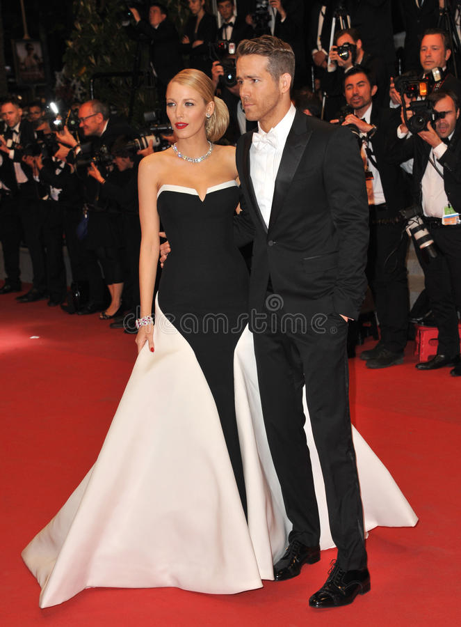 Ryan Reynolds & Blake Lively. CANNES, FRANCE - MAY 16, 2014: Ryan Reynolds & wife Blake Lively at the gala premiere of his movie Captives at the 67th Festival de stock photography