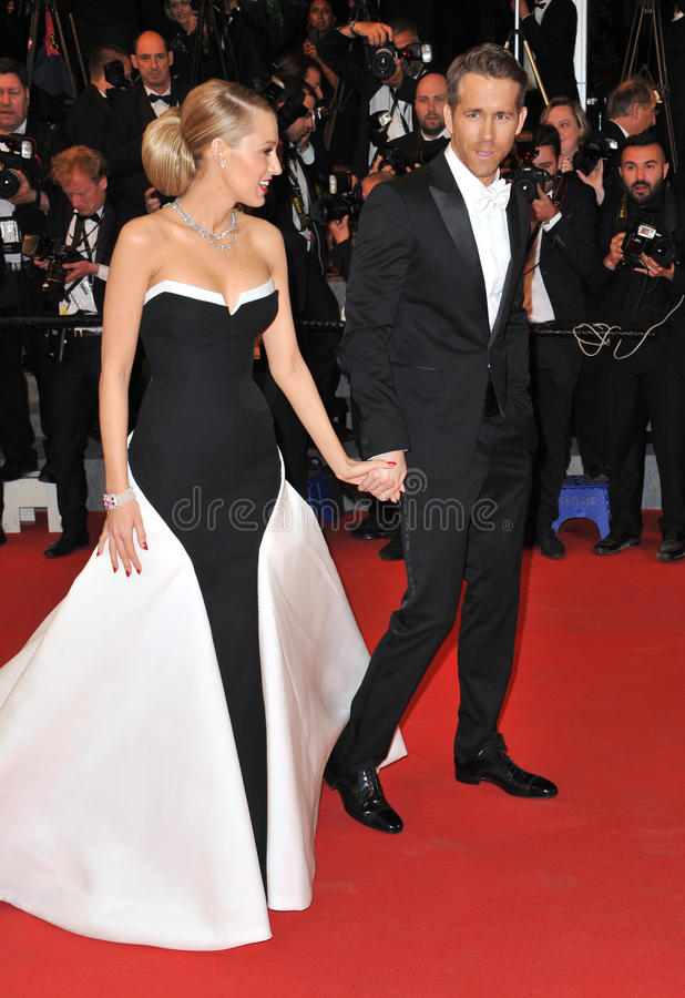 Ryan Reynolds & Blake Lively. CANNES, FRANCE - MAY 16, 2014: Ryan Reynolds & wife Blake Lively at the gala premiere of his movie Captives at the 67th Festival de stock images