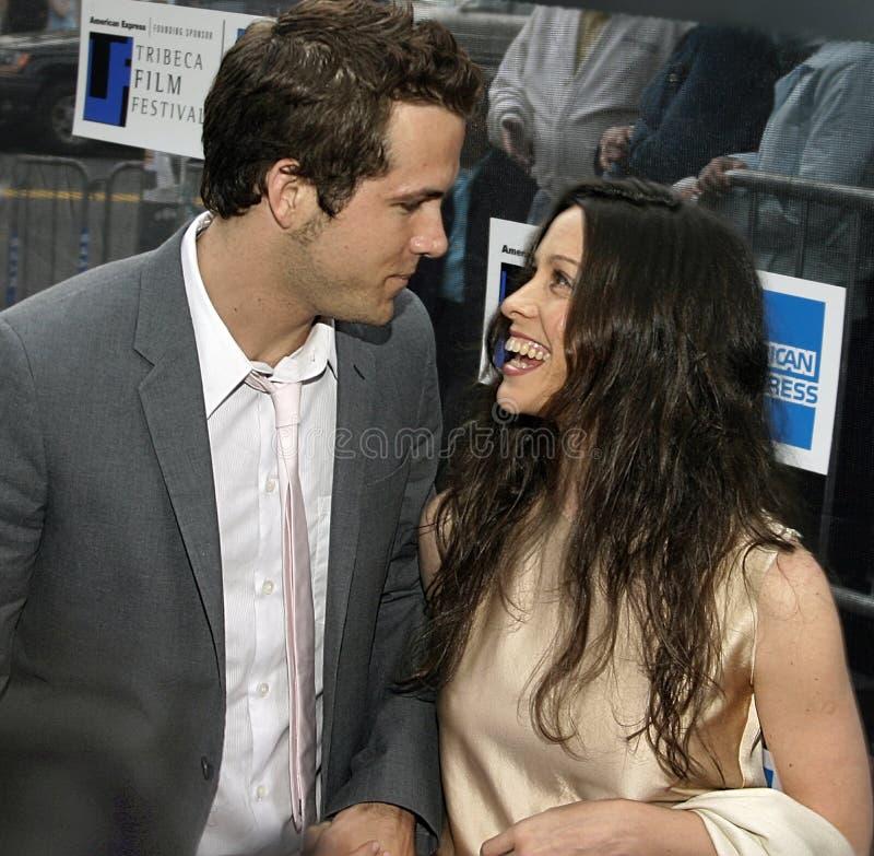 Ryan Reynolds en Alanis Morissette royalty-vrije stock foto