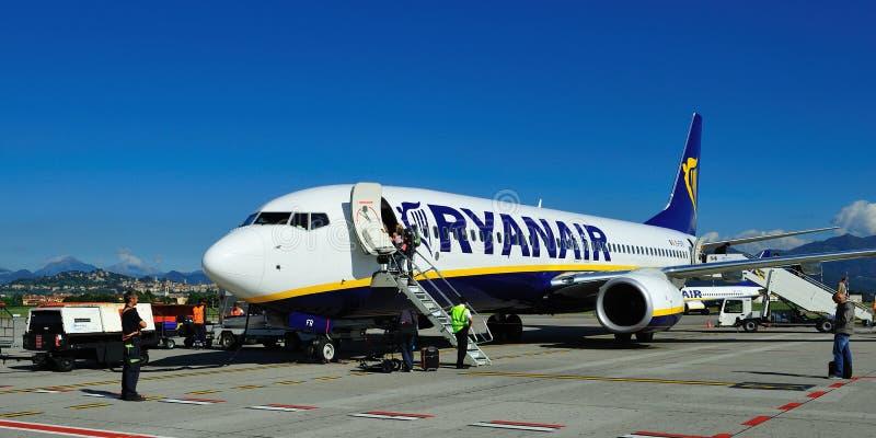 Ryanair. Airplane from Ryanair on airport Milan (Bergamo royalty free stock image