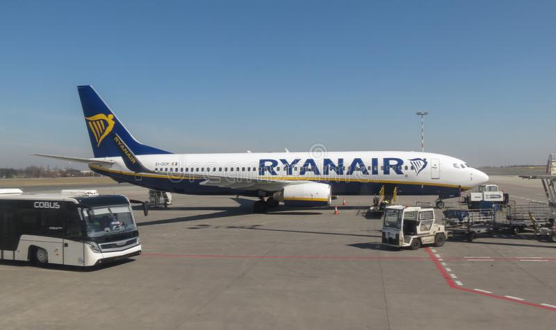 Ryanair aircraft Boeing 737-800. ORIO AL SERIO, BERGAMO, ITALY - CIRCA APRIL 2018: Ryanair aircraft Boeing 737-800 parked at the airport ready for boarding royalty free stock images