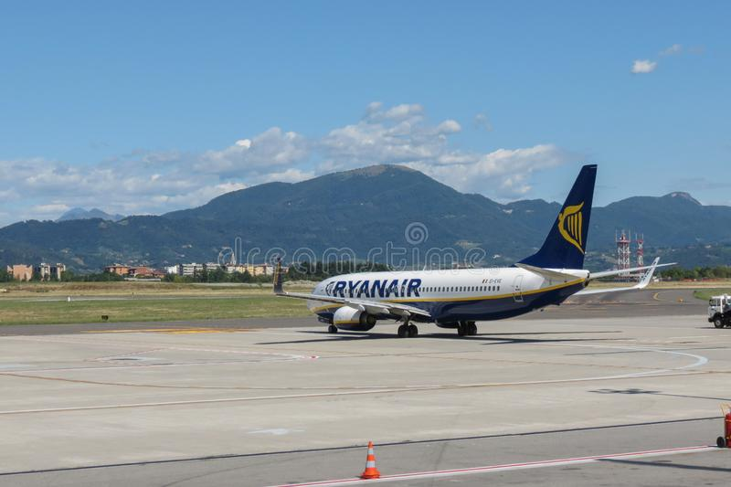Ryanair aircraft Boeing 737-800. ORIO AL SERIO, BERGAMO, ITALY - CIRCA SEPTEMBER 2015 - Ryanair aircraft Boeing 737-800 on the runway getting ready for take off royalty free stock images