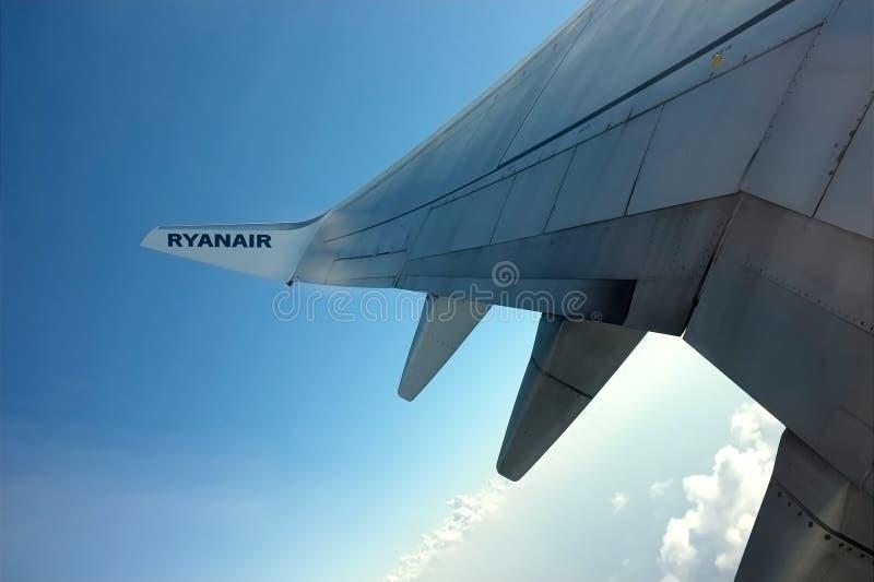 Ryanair Aircraft - wing royalty free stock photo