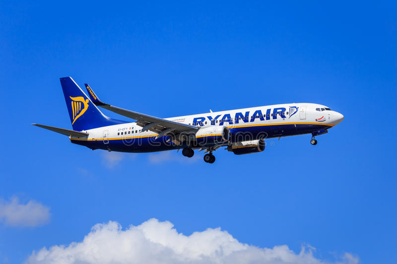 Ryanair Boeing 737-800. Approaching to land, sunny skies stock photo