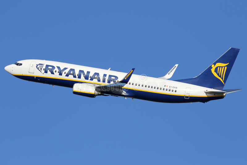 Ryanair Boeing 737-800. Barcelona, Spain - December 11, 2014: A Ryanair Boeing 737-800 with the registration EI-EKB taking off from Barcelona Airport (BCN) in stock images