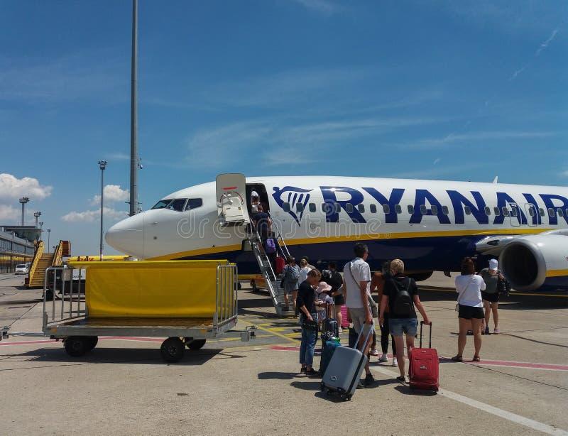 RyanAir Boeing 737-800 boarding in Bratislava. BRATISLAVA, SLOVAKIA - CIRCA JULY 2018: RyanAir Boeing 737-800 during boarding stock photo