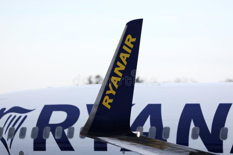 Ryanair Boeing jet, κοντινό πλάνο με πτερύγια και φτερά στοκ φωτογραφία με δικαίωμα ελεύθερης χρήσης
