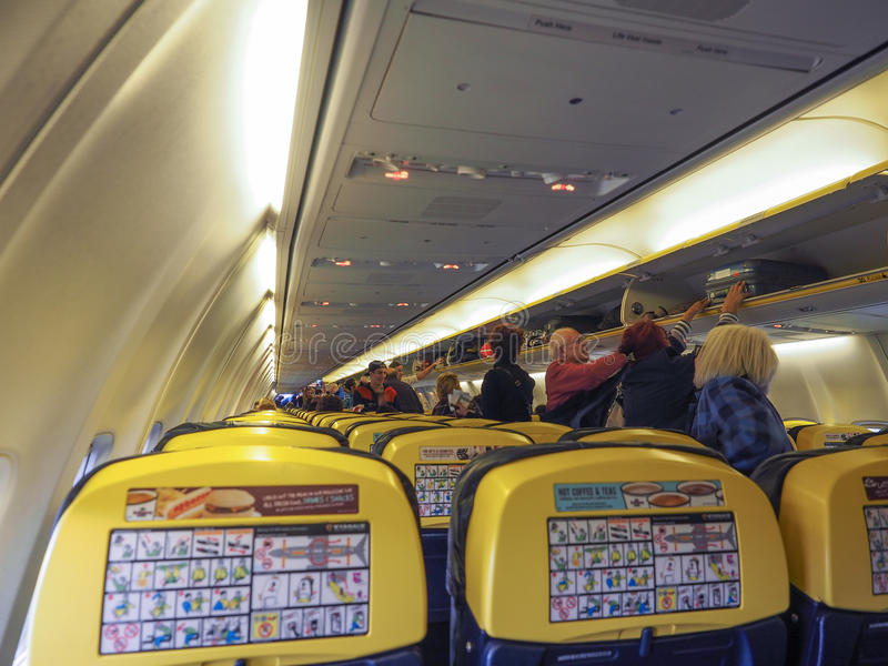 RyanAir Boeing 737-800 parked in Bristol. BRISTOL, UK - CIRCA OCTOBER 2016: Interior of RyanAir Boeing 737-800 stock photo