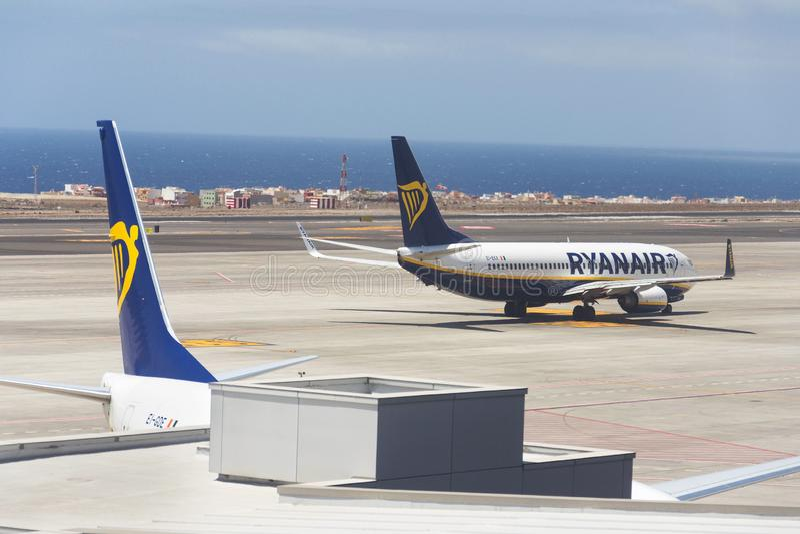 Ryanair Irish low-cost airline Boeing 737 preparing for flight on airport runway stock images
