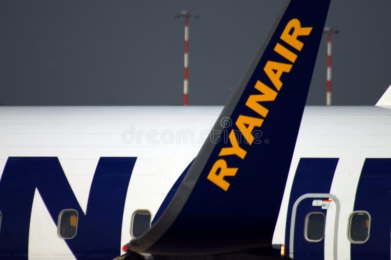Ryanair logos on an airplane at Bergamo`s airport stock image