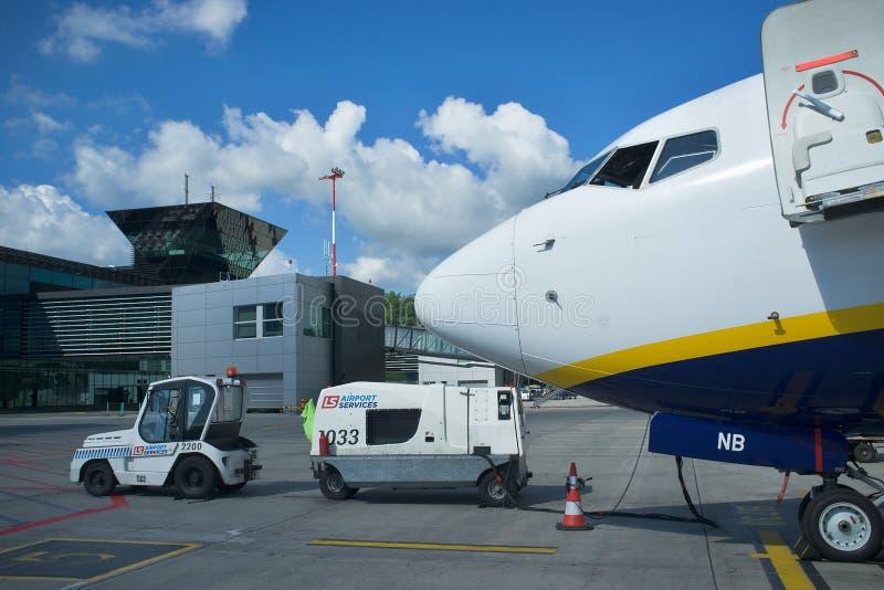 Ryanair plane in airport Balice Krakow. Getting, journey. stock image