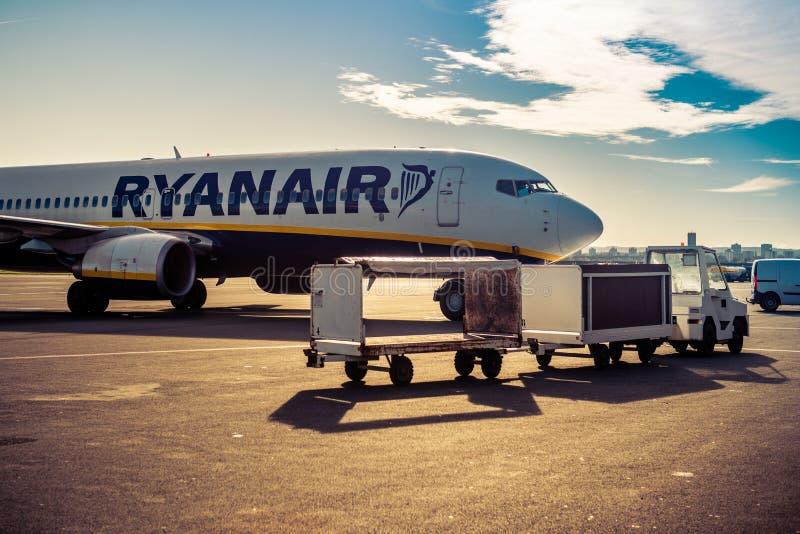 Ryanair plane in airport stock photography