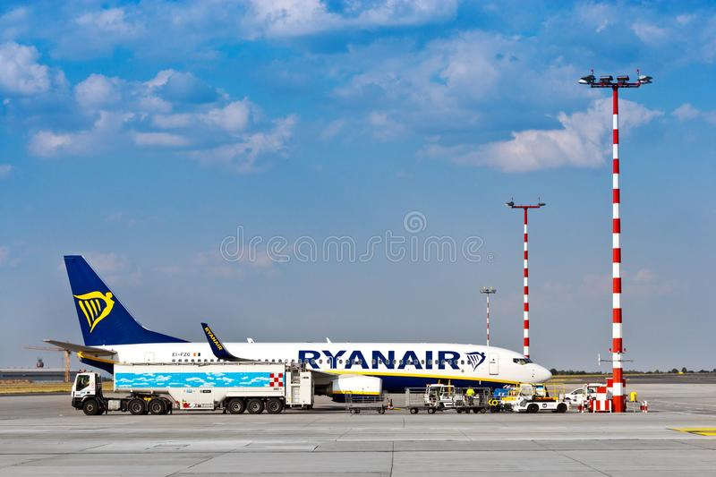 Ryanair, Vaclav Havel International Airport, Ruzyne, Praag, Tsjechische republiek stock afbeeldingen
