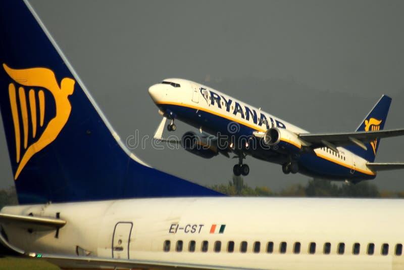 Ryanair airplanes activity at Bergamo airport royalty free stock image