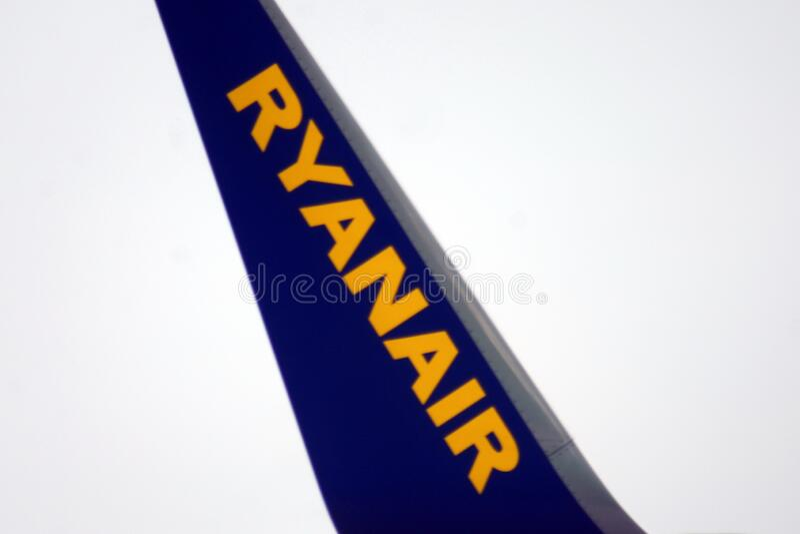Ryanair logo on the tail of a jet stock photos