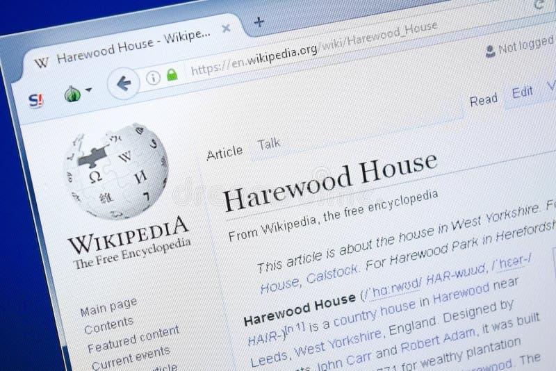 Ryazan, Ρωσία - 28 Αυγούστου 2018: Σελίδα Wikipedia για το σπίτι Harewood στην επίδειξη του PC στοκ εικόνα με δικαίωμα ελεύθερης χρήσης