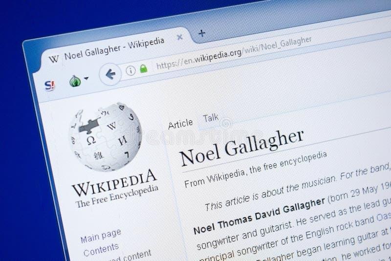 Ryazan, Ρωσία - 19 Αυγούστου 2018: Σελίδα Wikipedia για Noel Gallagher στην επίδειξη του PC στοκ εικόνες