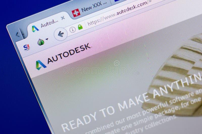 Ryazan, Ρωσία - 8 Μαΐου 2018: Ιστοχώρος Autodesk στην επίδειξη του PC, url - Autodesk COM στοκ φωτογραφίες με δικαίωμα ελεύθερης χρήσης