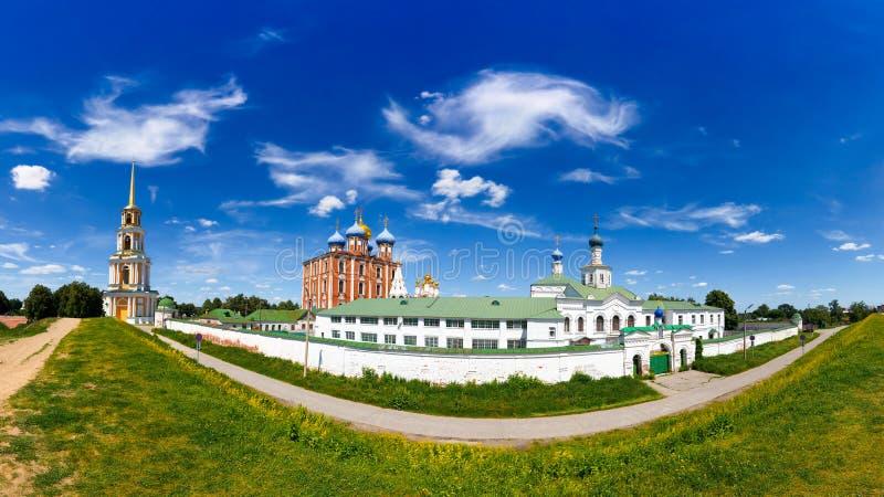 Ryazan Kremlin. Panoramic view of Ryazan Kremlin, Assumption Cathedral and bell tower. Ryazan, Russia royalty free stock photography