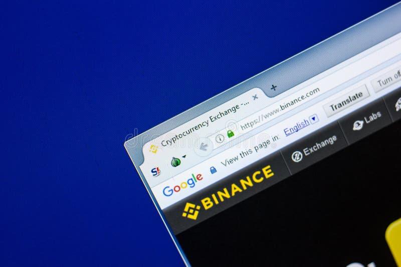 Ryazan, Rússia - 29 de abril de 2018: Homepage do Web site de Binance na exposição do PC, URL - Binance com foto de stock royalty free