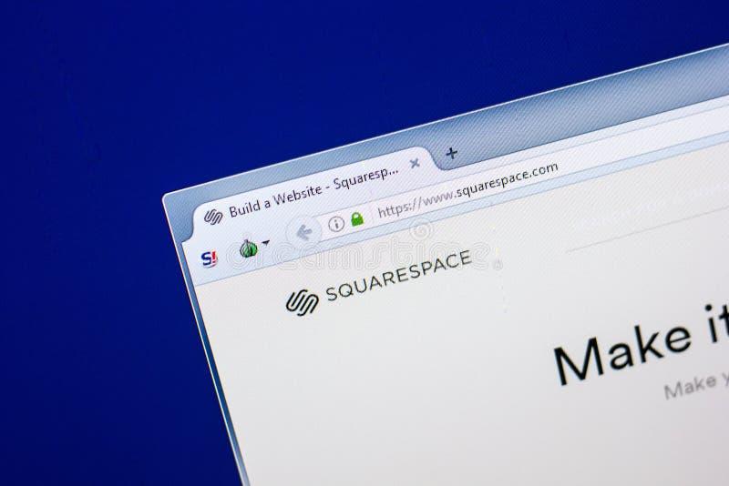 Ryazan, Rússia - 29 de abril de 2018: Homepage do Web site de Squarespace na exposição do PC, URL - Squarespace com imagem de stock