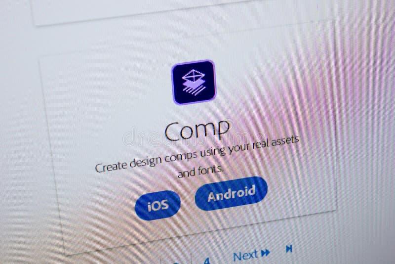 Ryazan, Rússia - 11 de julho de 2018: Comp(s) de Adobe, logotipo do software no Web site oficial de Adobe imagens de stock