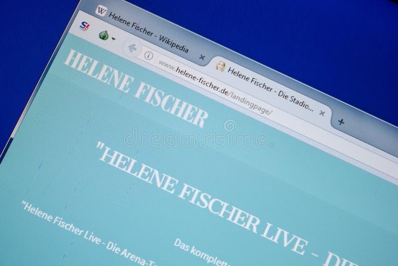 Ryazan, Rússia - 8 de julho de 2018: Helene-Fischer de Web site na exposição do PC imagem de stock royalty free