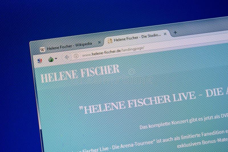 Ryazan, Rússia - 8 de julho de 2018: Helene-Fischer de Web site na exposição do PC imagem de stock