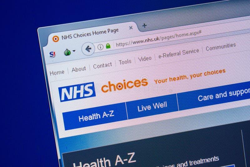 Ryazan, Rússia - 24 de julho de 2018: Homepage do Web site de NHS na exposição do PC URL - NHS Reino Unido imagem de stock royalty free