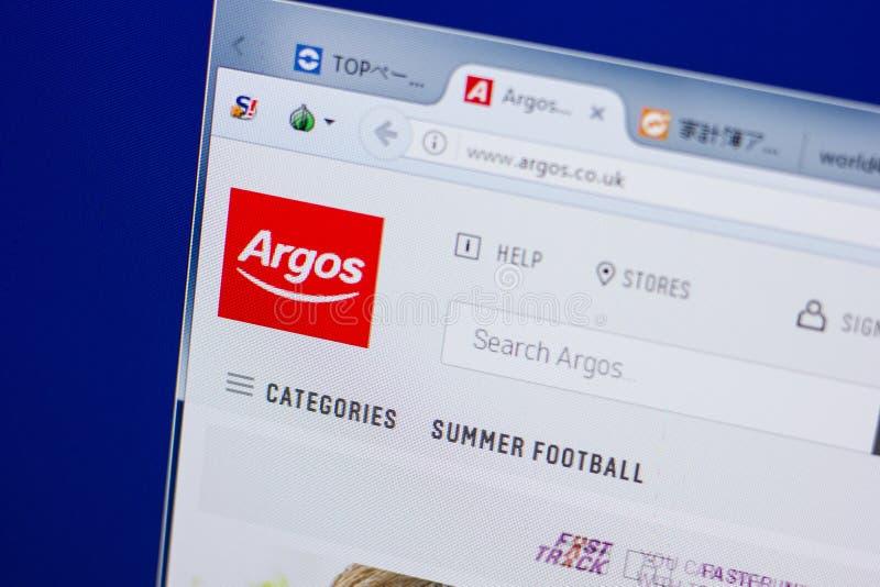 Ryazan, Rússia - 17 de junho de 2018: Homepage do Web site de Argos na exposição do PC, URL - Argos Co Reino Unido fotografia de stock