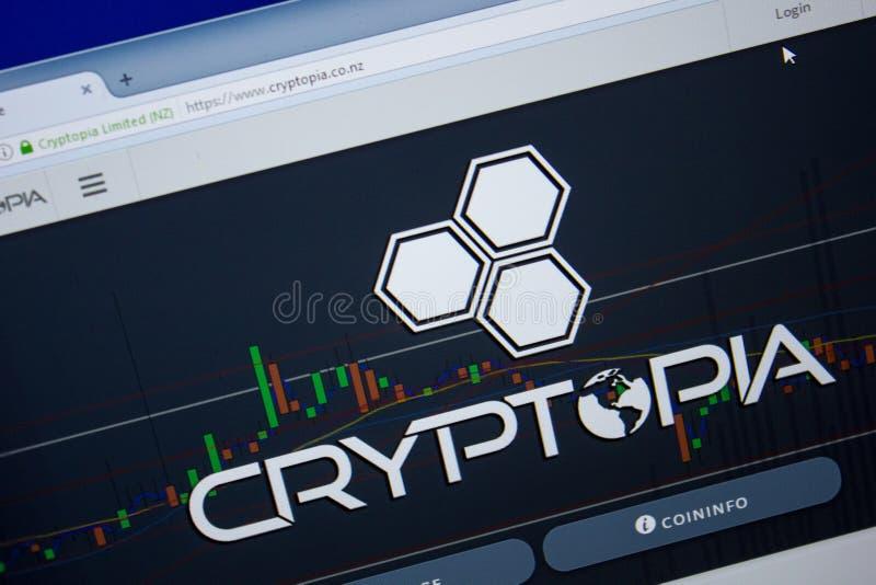 Ryazan, Rússia - 26 de junho de 2018: Homepage do Web site de Cryptopia na exposição do PC URL - Cryptopia Co NZ imagens de stock royalty free