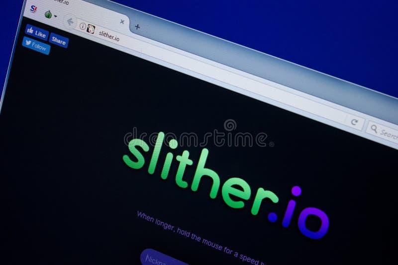 Ryazan, Rússia - 26 de junho de 2018: Homepage do Web site Slither na exposição do PC URL - Deslizar Io imagens de stock royalty free
