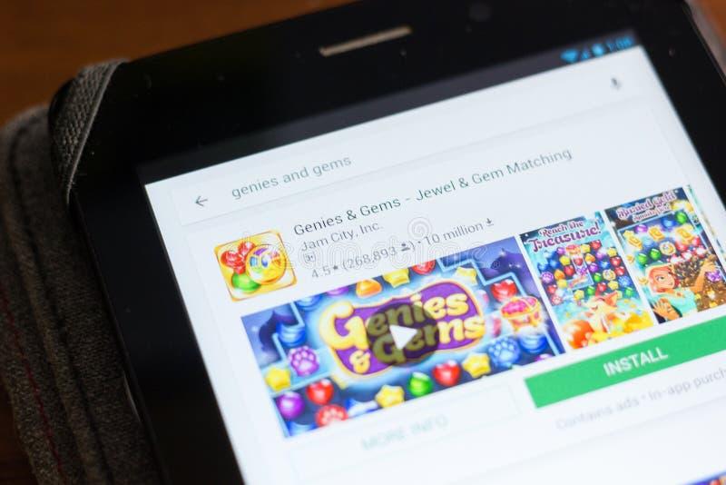 Ryazan Rosja, Czerwiec, - 24, 2018: Genies i klejnoty - klejnotu i klejnotu dopasowywania ikona na liście mobilni apps zdjęcie royalty free
