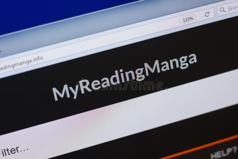 Ryazan Rosja, Czerwiec, - 16, 2018: Homepage MyReadingManga strona internetowa na pokazie pecet, url - MyReadingManga info fotografia stock