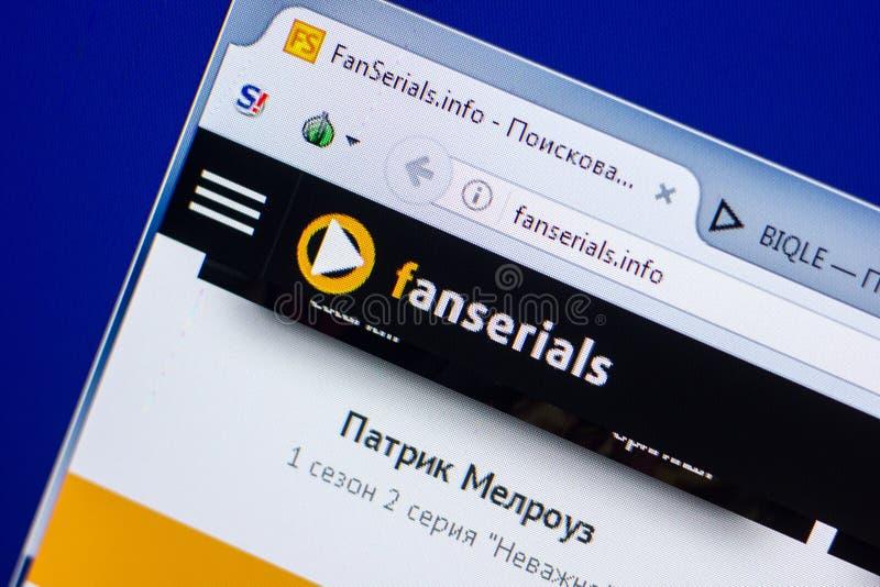 Ryazan Rosja, Maj, - 20, 2018: Homepage FanSerials strona internetowa na pokazie pecet, url - FanSerials info obrazy royalty free