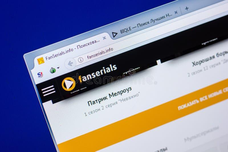 Ryazan Rosja, Maj, - 20, 2018: Homepage FanSerials strona internetowa na pokazie pecet, url - FanSerials info fotografia stock