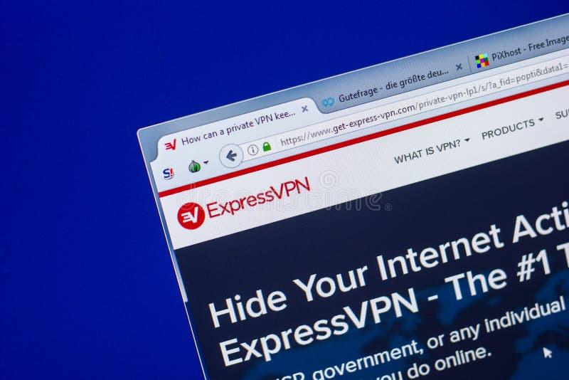 Ryazan Rosja, Maj, - 20, 2018: Homepage VPN strona internetowa na pokazie pecet, url - VPN com obrazy stock
