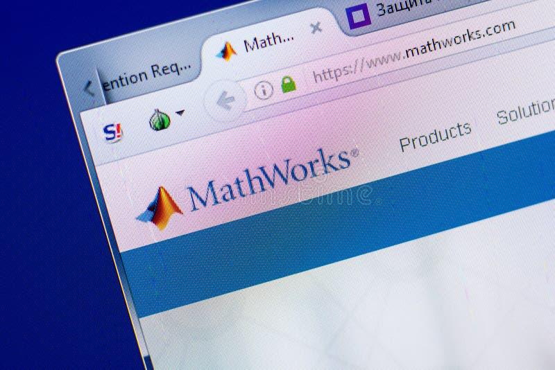 Ryazan Rosja, Maj, - 08, 2018: Matematyka Pracuje stronę internetową na pokazie pecet, url - MathWorks com obraz stock